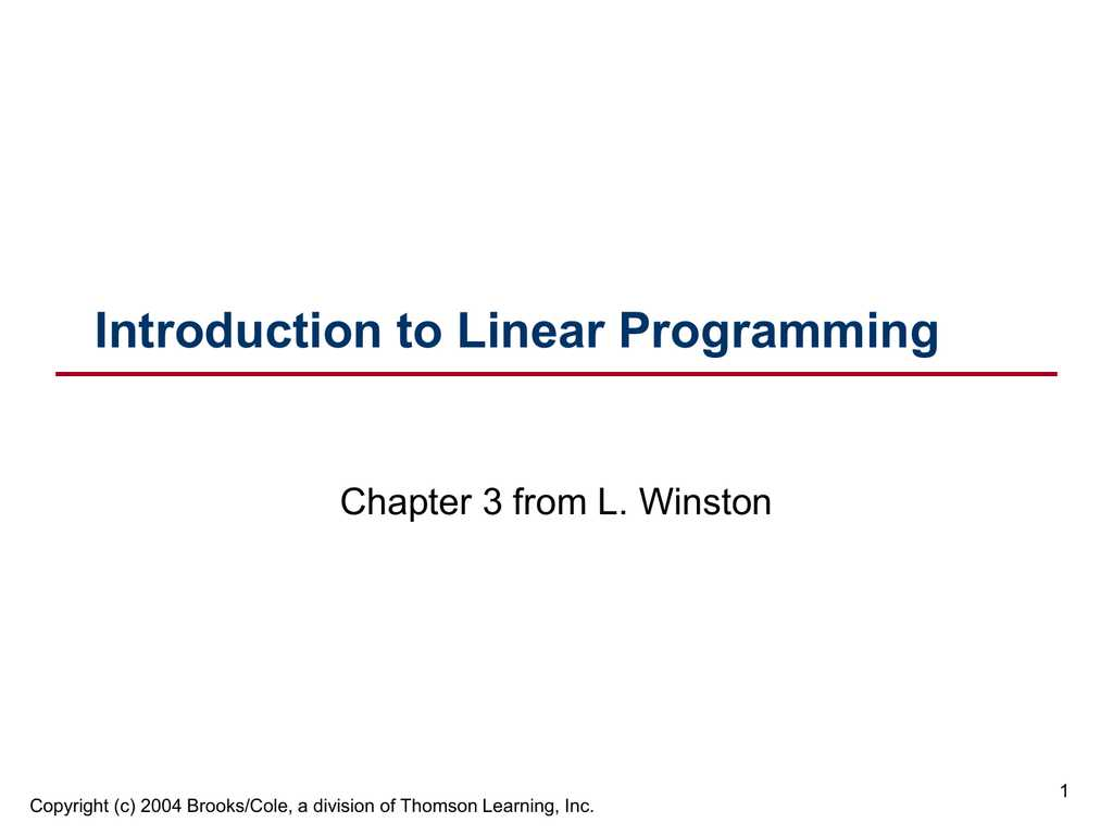 Linear Programming Worksheets with solutions and Pdf Introduction to Mathematical Programming solutions Winst