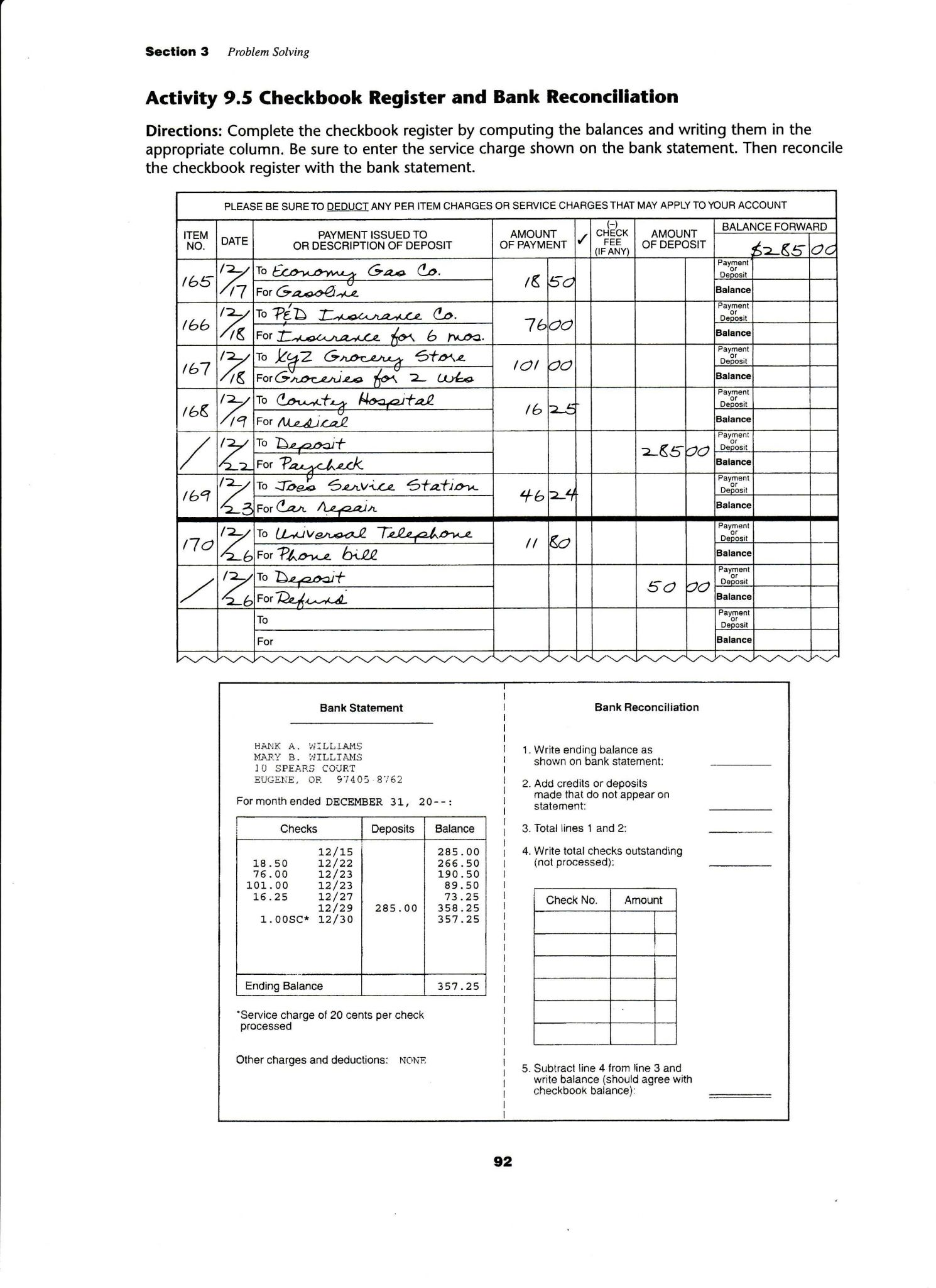 Managing A Checking Account Worksheet Answers Also Check Register Worksheet for Students Image Collections Worksheet