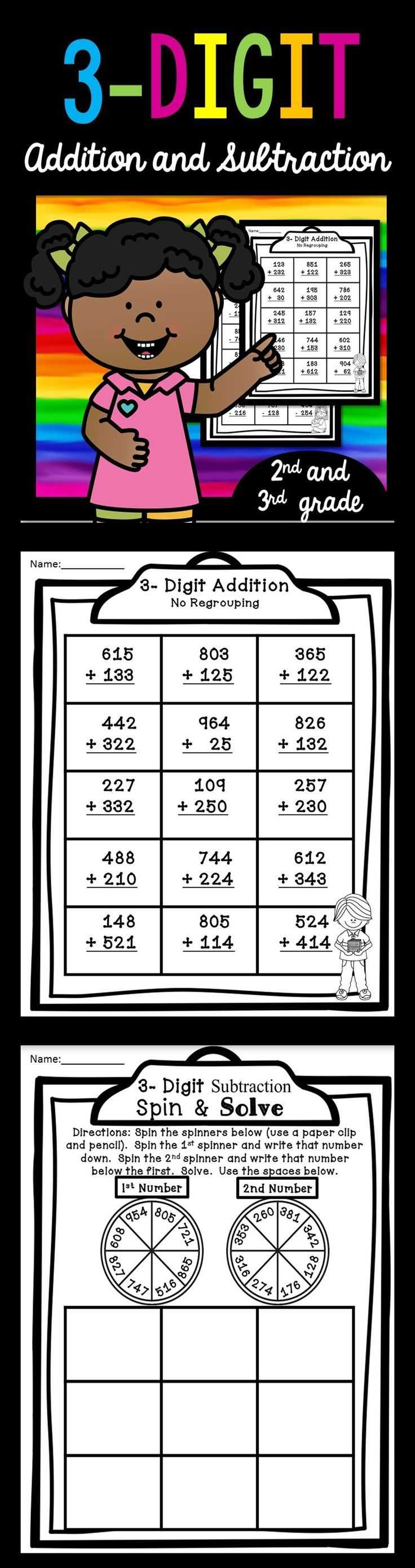 Math assessment Worksheets and 3 Digit Addition and Subtraction Set 1
