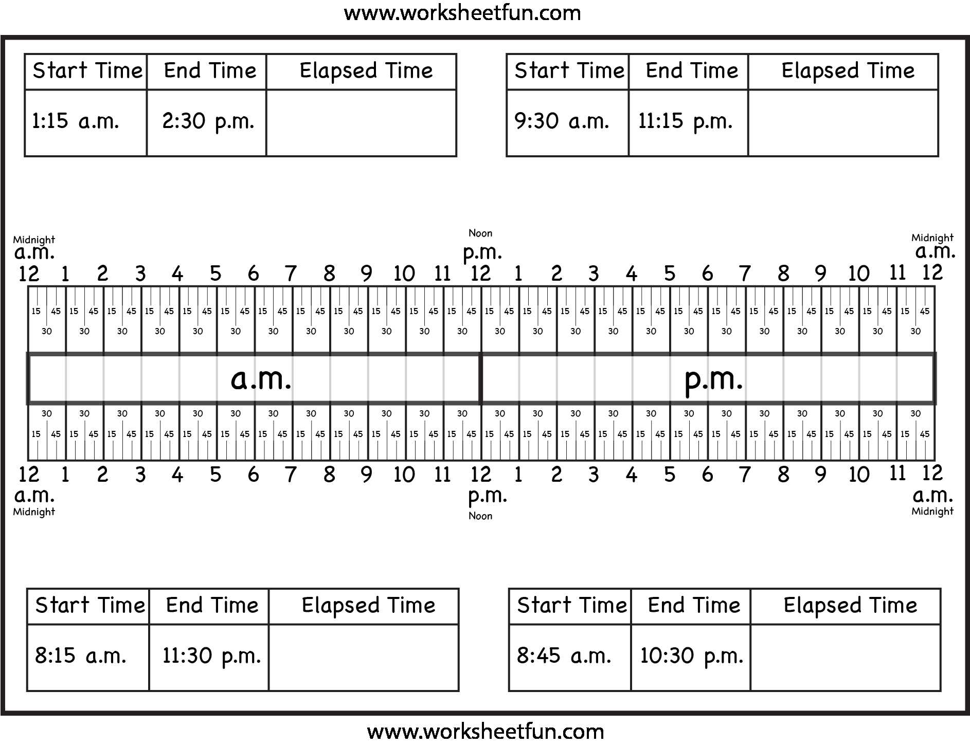 Math assessment Worksheets and Calculate Elapsed Time Using Elapsed Time Ruler – Quarter Hours 15