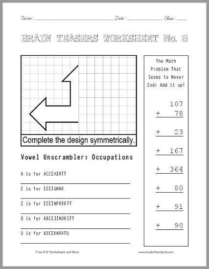 Math Brain Teasers Worksheets or Agreeable Brain Games Printable Worksheets for Your Brain Teasers