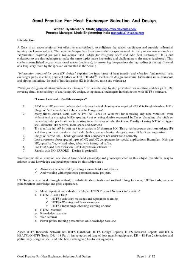Methods Of Heat Transfer Worksheet Answers and Appendix M Paper Good Practice for Heat Exchanger Selection and Desig…