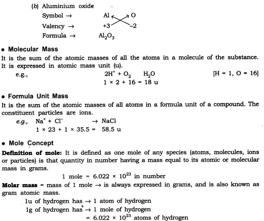 Mole Mass and Particle Conversion Worksheet as Well as Ncert solutions for Class 9 Science atoms and Molecules