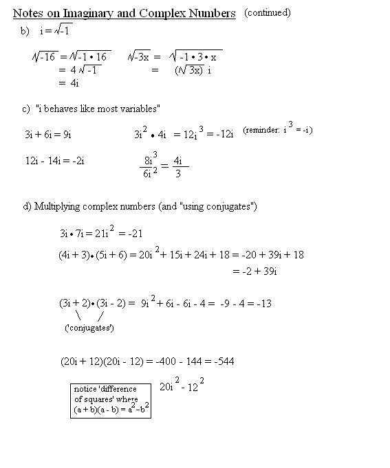 Multiplying Complex Numbers Worksheet Along with Imaginary Numbers Worksheet