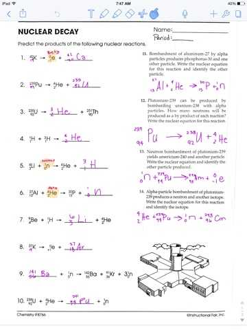 Nuclear Equations Worksheet with Answers with Nuclear Decay Worksheet with Answers Page 34 Kidz Activities