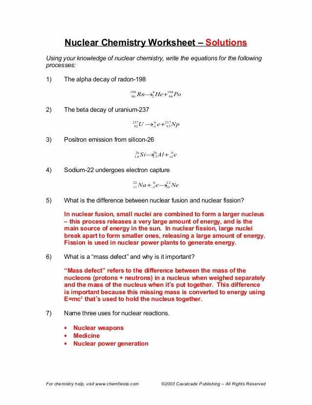 Nuclear Reactions Worksheet Answers Along with Nuclear Decay Chemistry Worksheet Kidz Activities