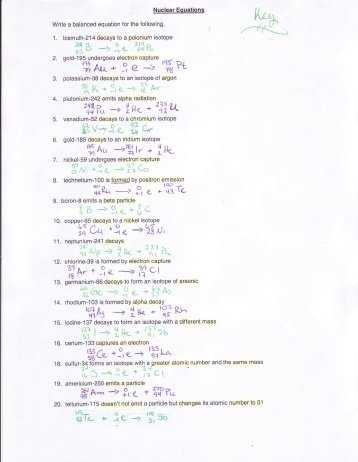 Nuclear Reactions Worksheet Answers Also Nuclear Reactions and Half Life Worksheet Plymouth State