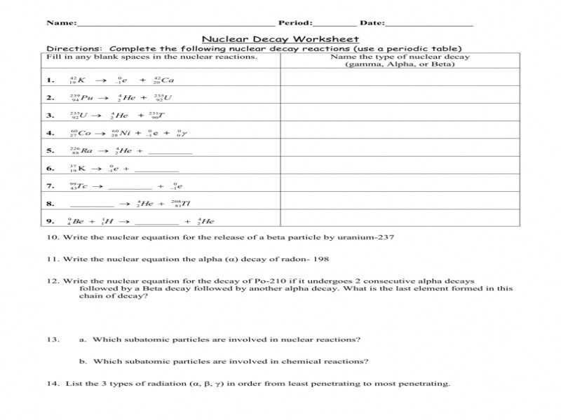 Nuclear Reactions Worksheet Answers Also Worksheet 11 Math Skills Nuclear Decay Stay at Hand