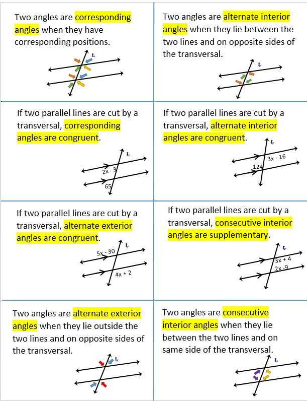 Parallel Lines Cut by A Transversal Worksheet Answer Key and Worksheets 50 Re Mendations Parallel Lines and Transversals