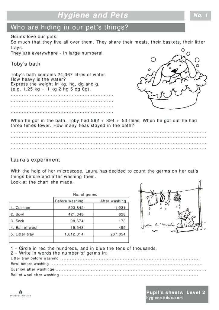 Personal Hygiene Worksheets Middle School or French Pets Worksheet Gallery Worksheet Math for Kids