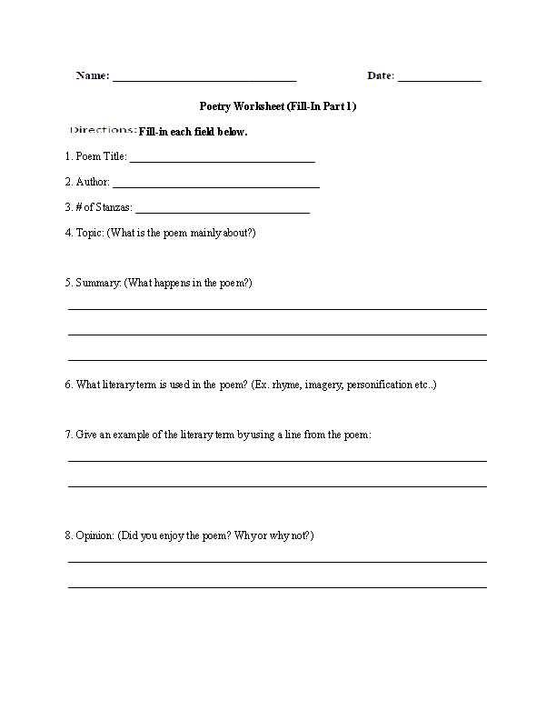 Poetry Worksheets Printable together with Poetry Worksheets Pdf aslitherair