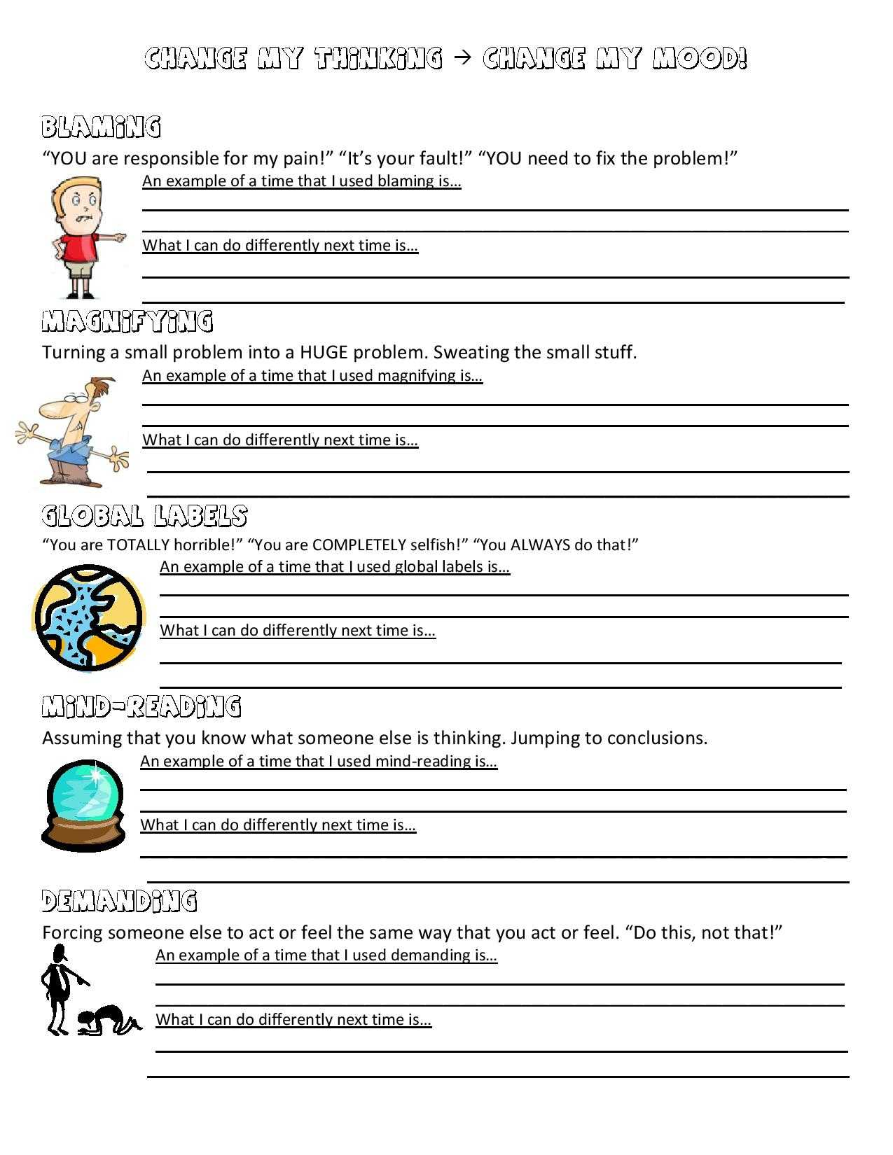Positive Thinking Worksheets or Problem solving therapy Worksheets Image Collections Worksheet