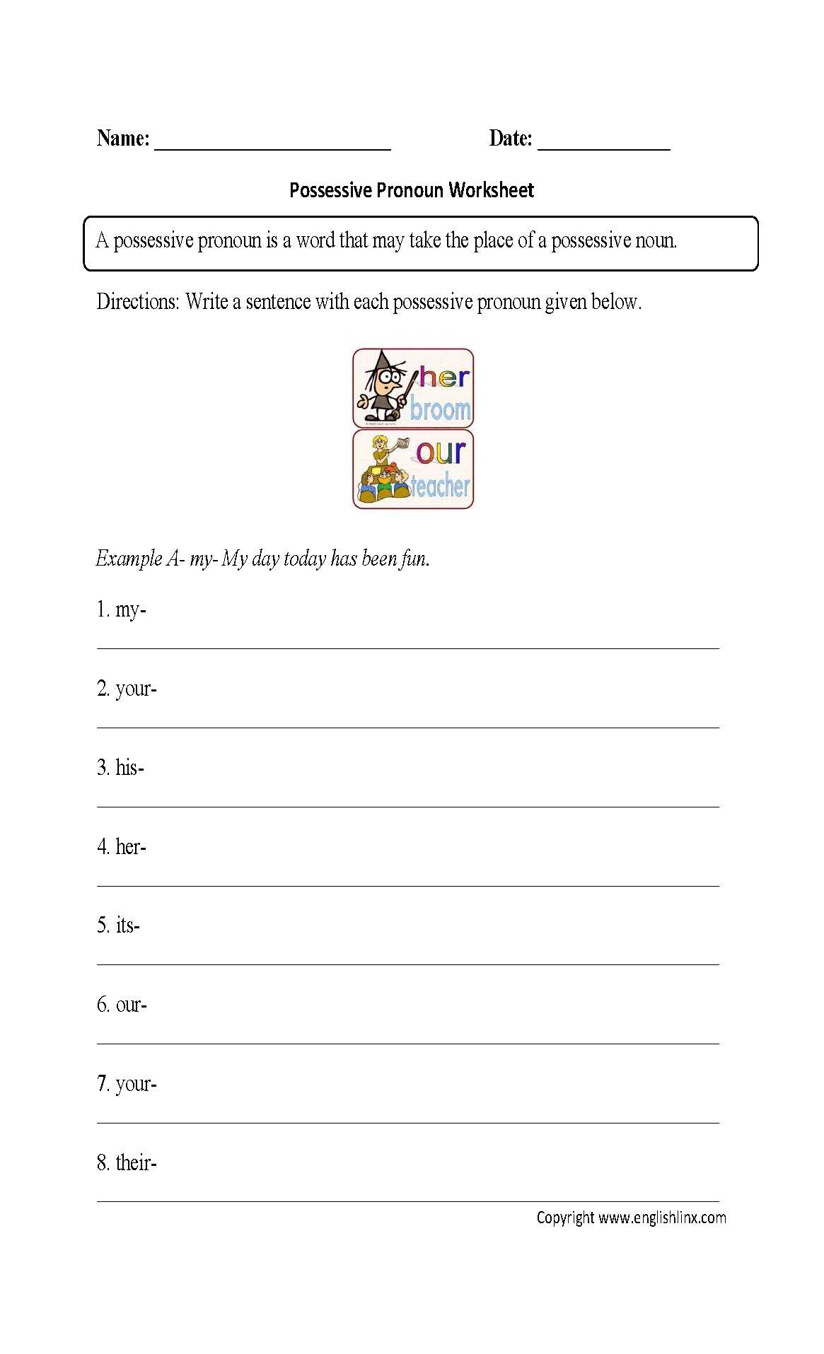 Possessive Adjectives Worksheet and New Possessive Pronoun Of someone