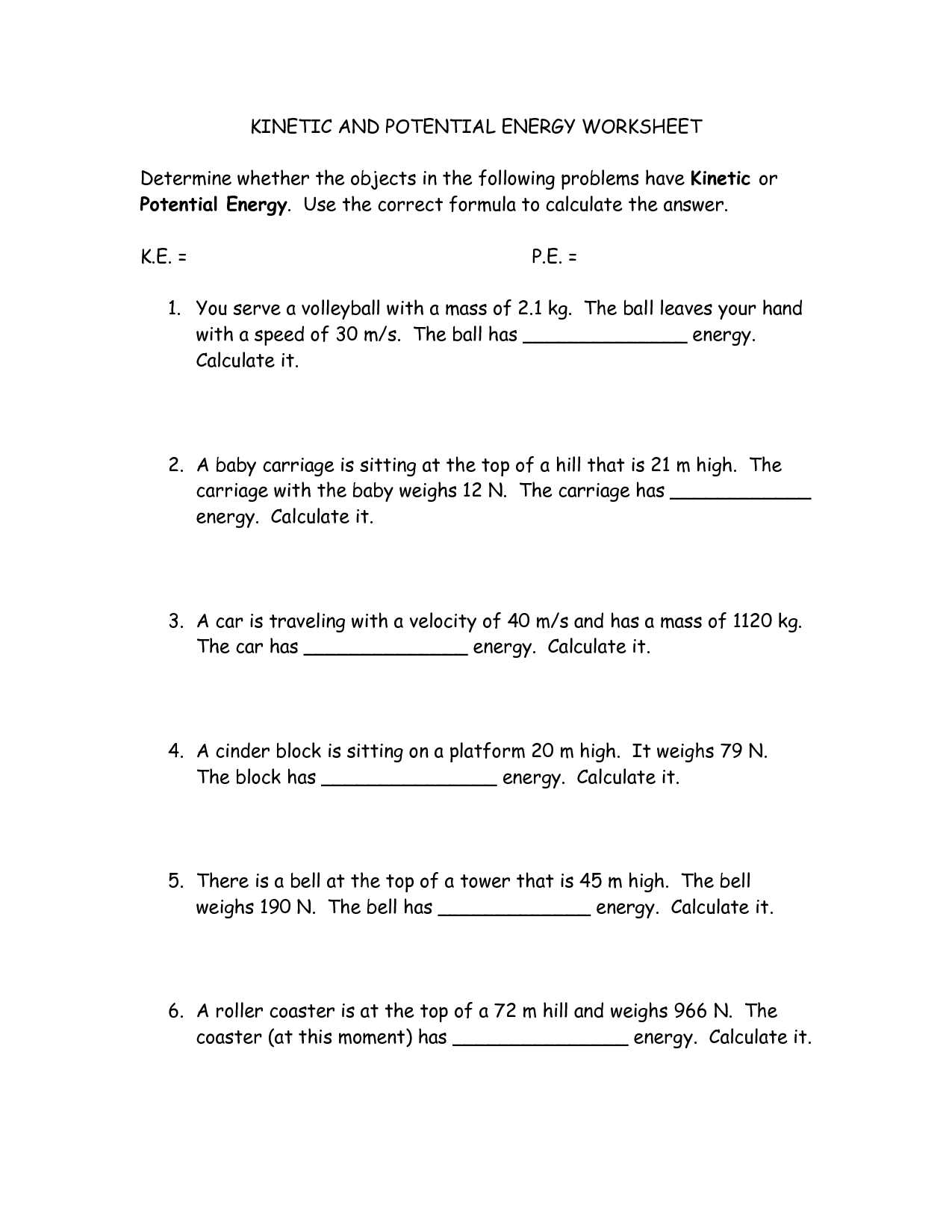 Potential Energy Problems Worksheet with Kinetic Energy Worksheet Image Collections Worksheet Math for Kids