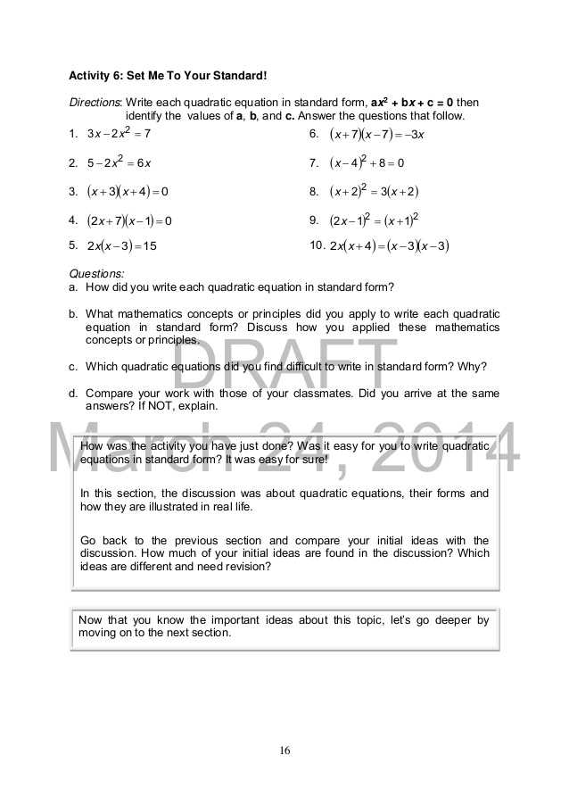 Practice 5 5 Quadratic Equations Worksheet Answers as Well as Mathematics 9
