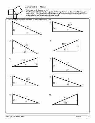 Pythagorean theorem Worksheet Answers and Practice Using the Pythagorean theorem with these Geometry