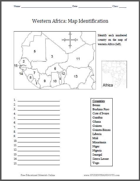 Reading A Map Worksheet Pdf together with Western Africa Map Identification Worksheet Free to Print Pdf