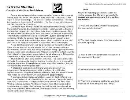 Reading Comprehension Worksheets 5th Grade or Extreme Weather