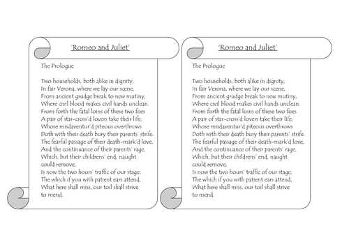 Romeo and Juliet the Prologue Worksheet and Romeo & Juliet Printable Prologue for Annotation by Johncallaghan