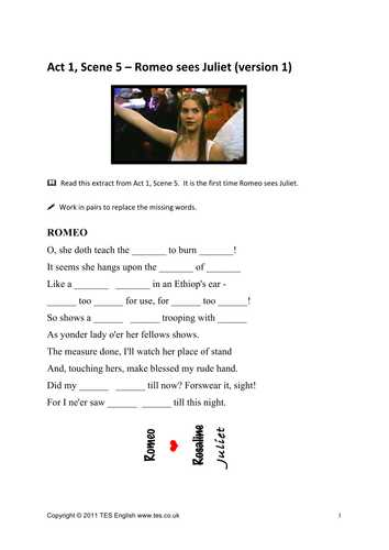Romeo and Juliet Worksheets Act 1 and Romeo and Juliet Worksheets for Act 1 Scene 5 by Tesenglish