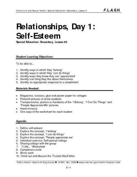 Self Love Worksheet with Relationships Day 1 Self Esteem Lesson Plan Lesson Planet