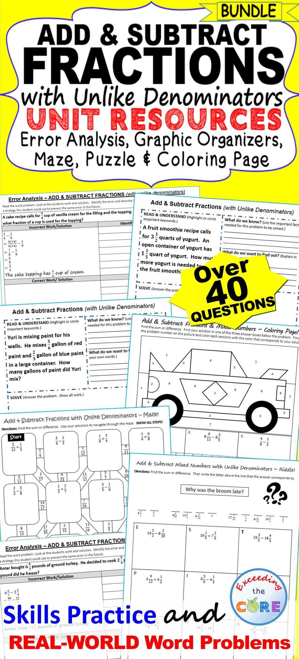Solving Addition and Subtraction Equations Worksheets Answers or Add & Subtract Fractions Bundle Error Analysis Graphic organizers