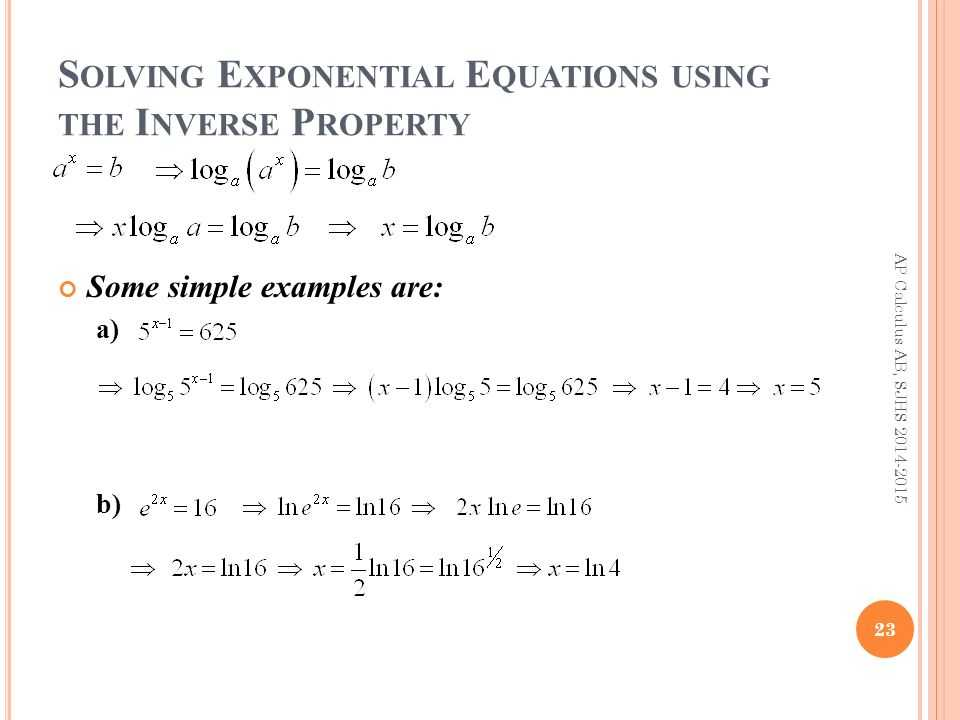 Solving Exponential and Logarithmic Equations Worksheet together with E Xponents and L Ogarithms Ap Calculus Ab Summer Review Ppt