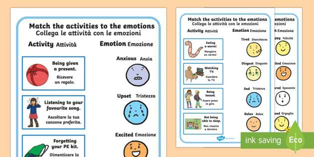 Stem Activity Worksheets with Emotions Worksheet Activity Sheets English Italian Emotions
