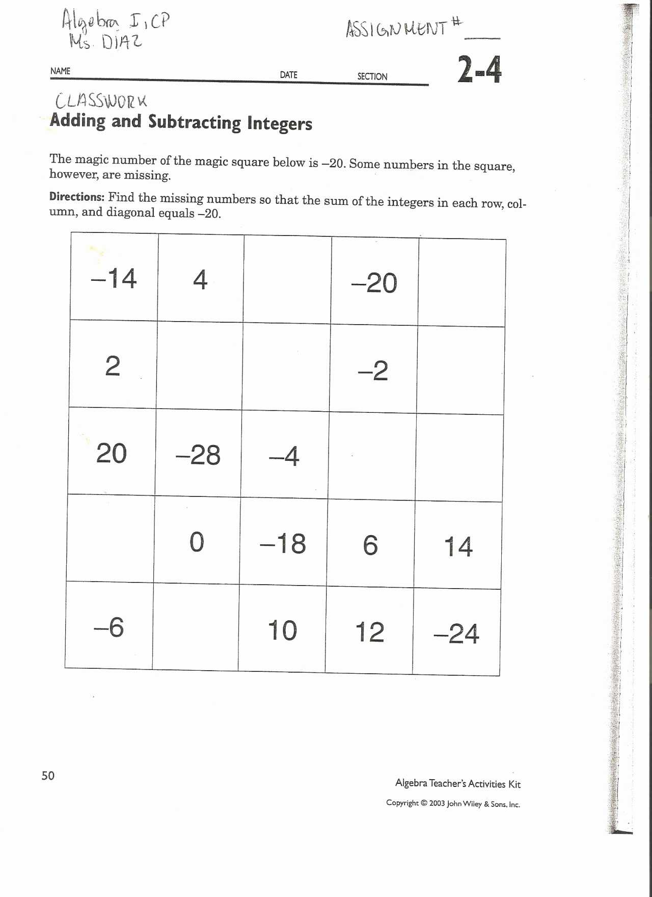 Subtracting Integers Worksheet Also Subtractions Integer Worksheets with Answers Free Library Download