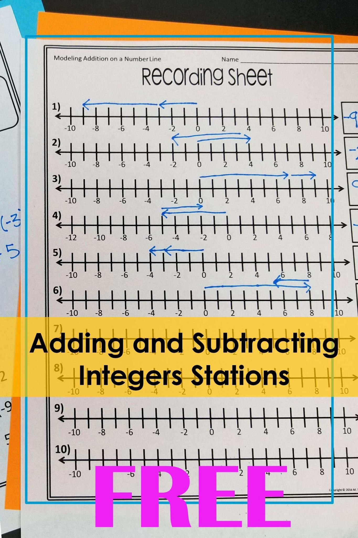 Subtracting Integers Worksheet and 15 Inspirational Answer Sheet for Math