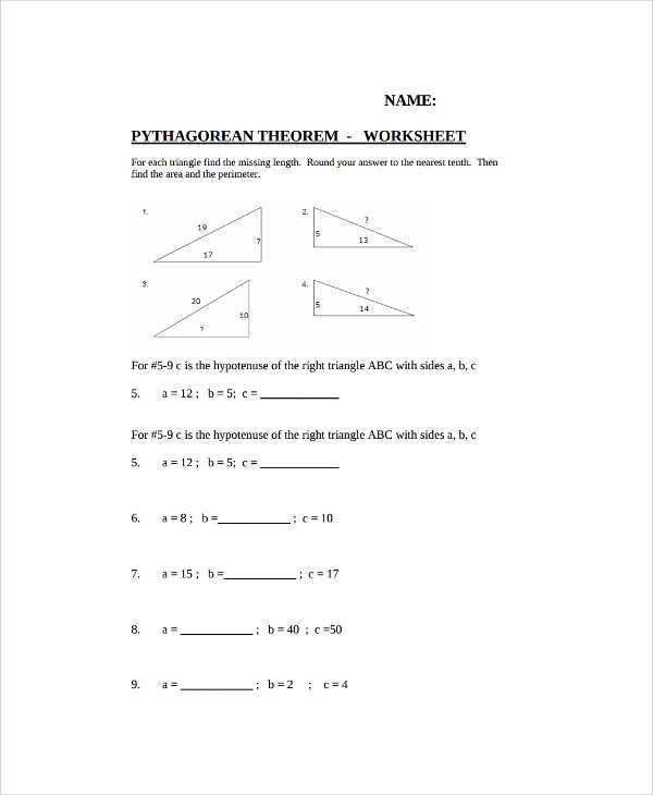 The Pythagorean theorem Worksheet Answers as Well as Unique Pythagorean theorem Worksheet New Pythagorean theorem
