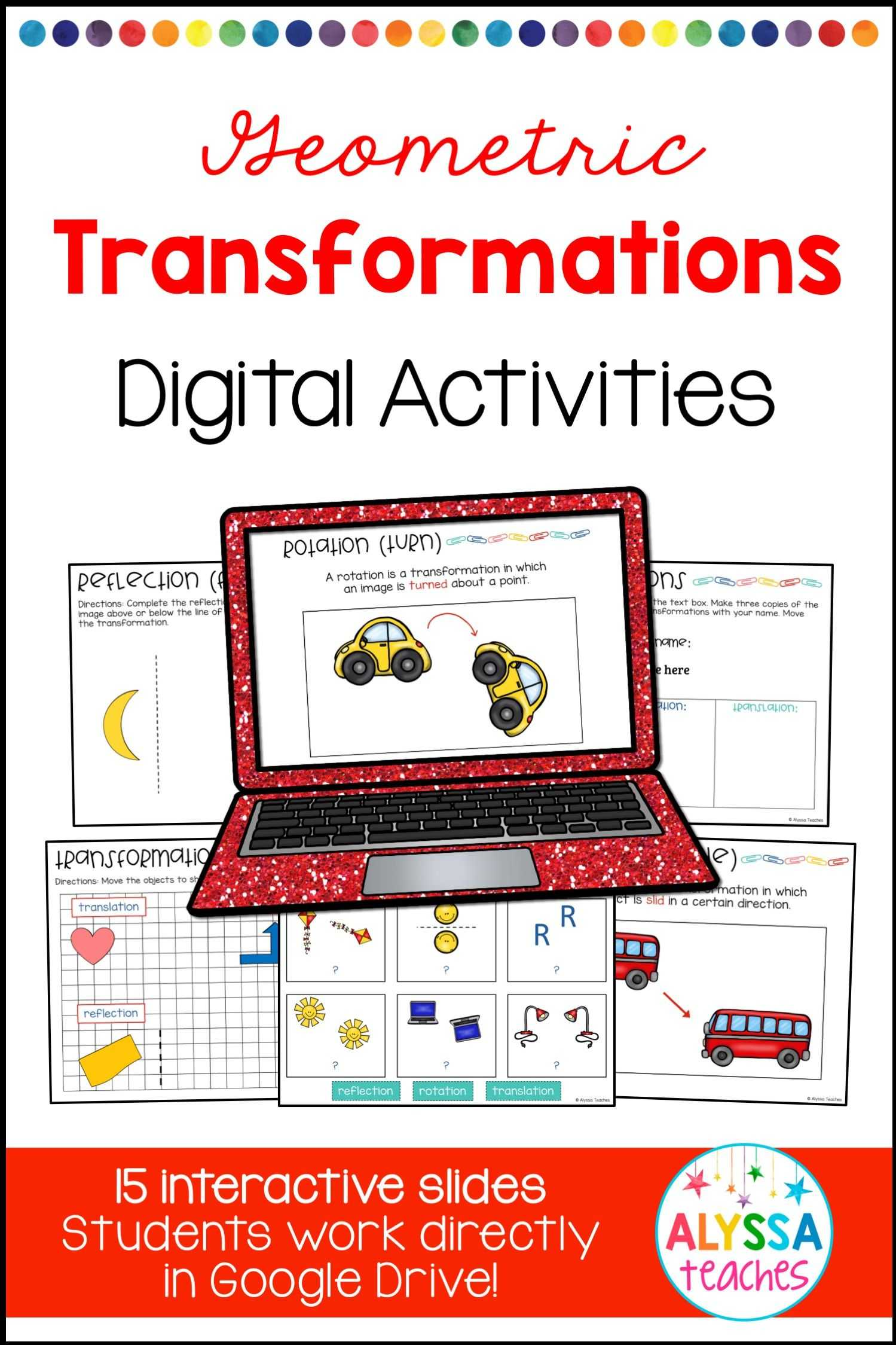 Translation and Reflection Worksheet Answers and Transformations Digital Activities
