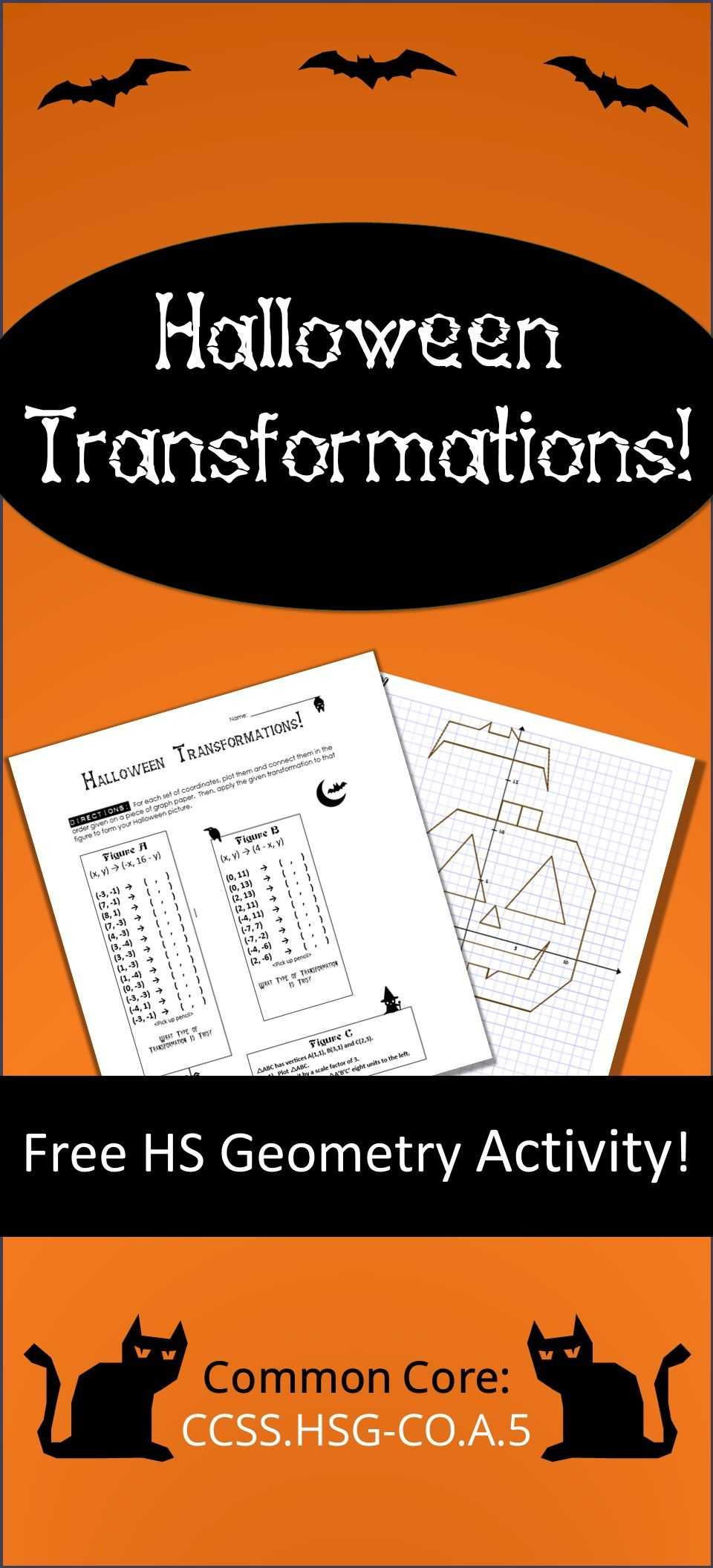Translation Rotation Reflection Worksheet Answers as Well as Halloween Transformations Hs Geometry Activity – Aligned to Mon