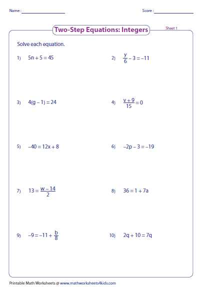 Two Variable Equations Worksheet as Well as Worksheet Works solving Two Step Equations Answers aslitherair