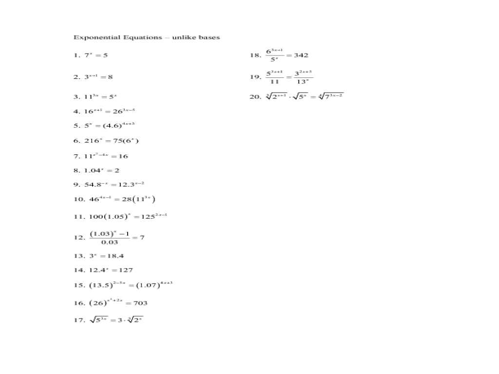 Velocity and Acceleration Calculation Worksheet Answer Key or solving Exponential Equations Using Logarithms Worksheet the