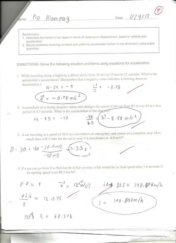 Velocity and Acceleration Worksheet Also Calculating Speed Time Distance and Acceleration Worksheet Answers