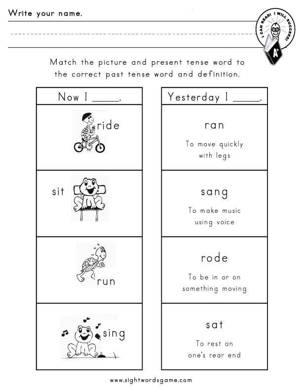 Verb Worksheets 2nd Grade and Irregular Verbs Worksheets for First Grade