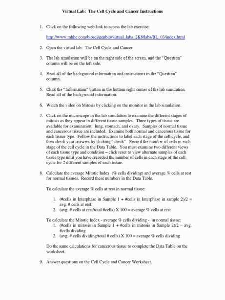 Virtual Lab the Cell Cycle and Cancer Worksheet Answers Along with Beautiful the Cell Cycle Worksheet Fresh Cell Cycle and Mitosis