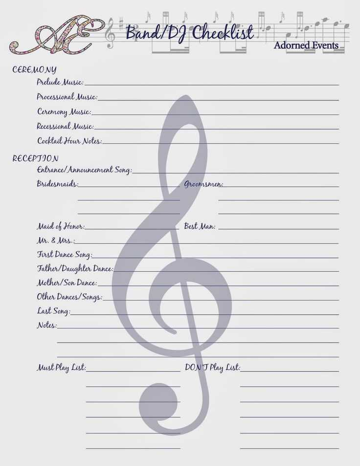 Wedding Planning Worksheets and 7 Best Wedding Music Consult Images On Pinterest