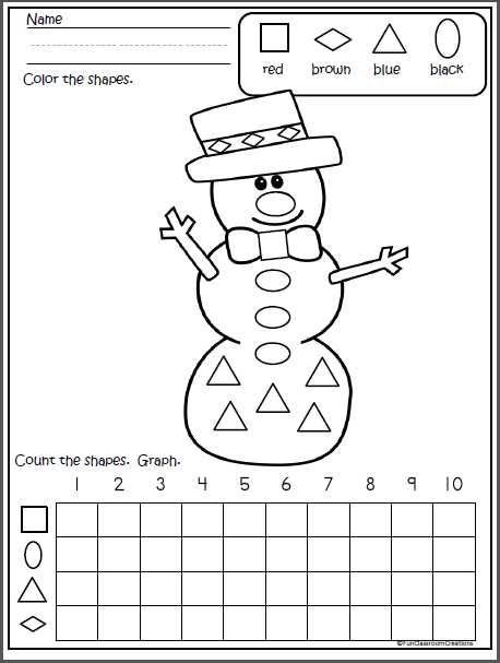 Winter Math Worksheets or Snowman Shapes Graph