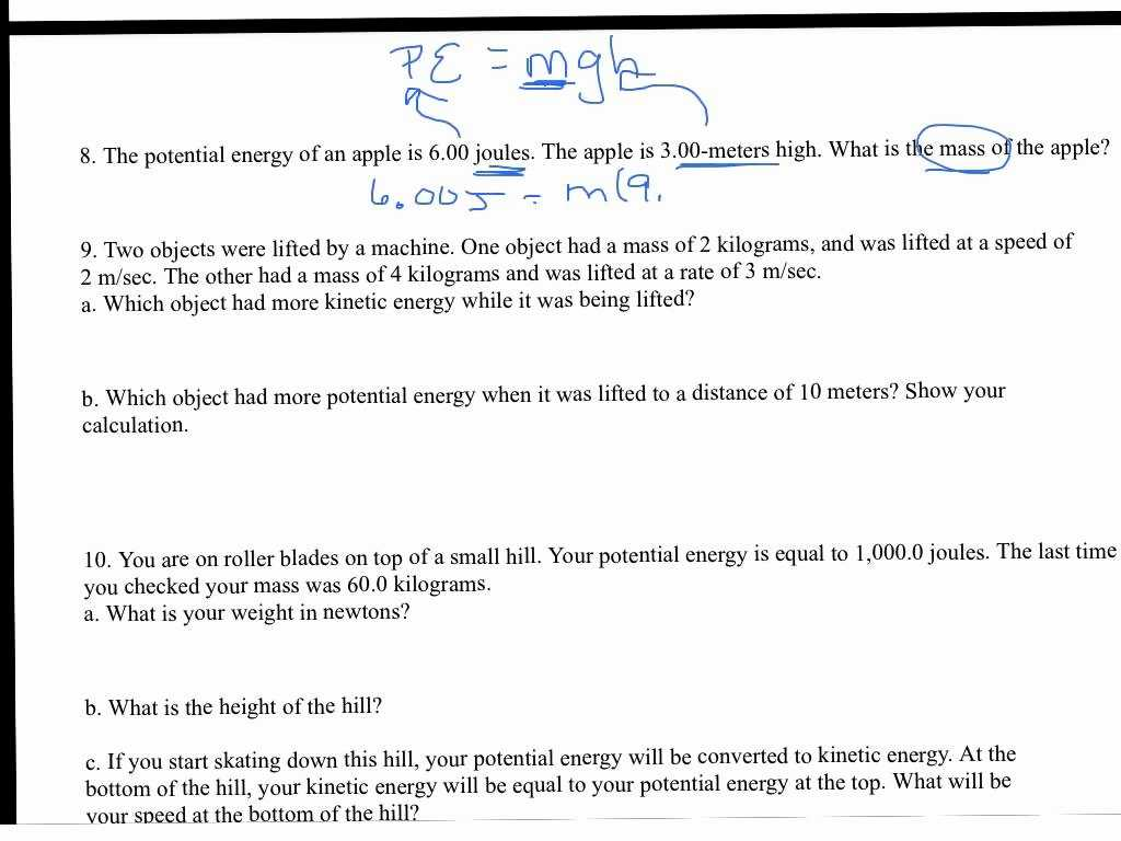 Worksheet Kinetic and Potential Energy Problems as Well as Kinetic and Potential Energy Worksheet with Answer Key Kid