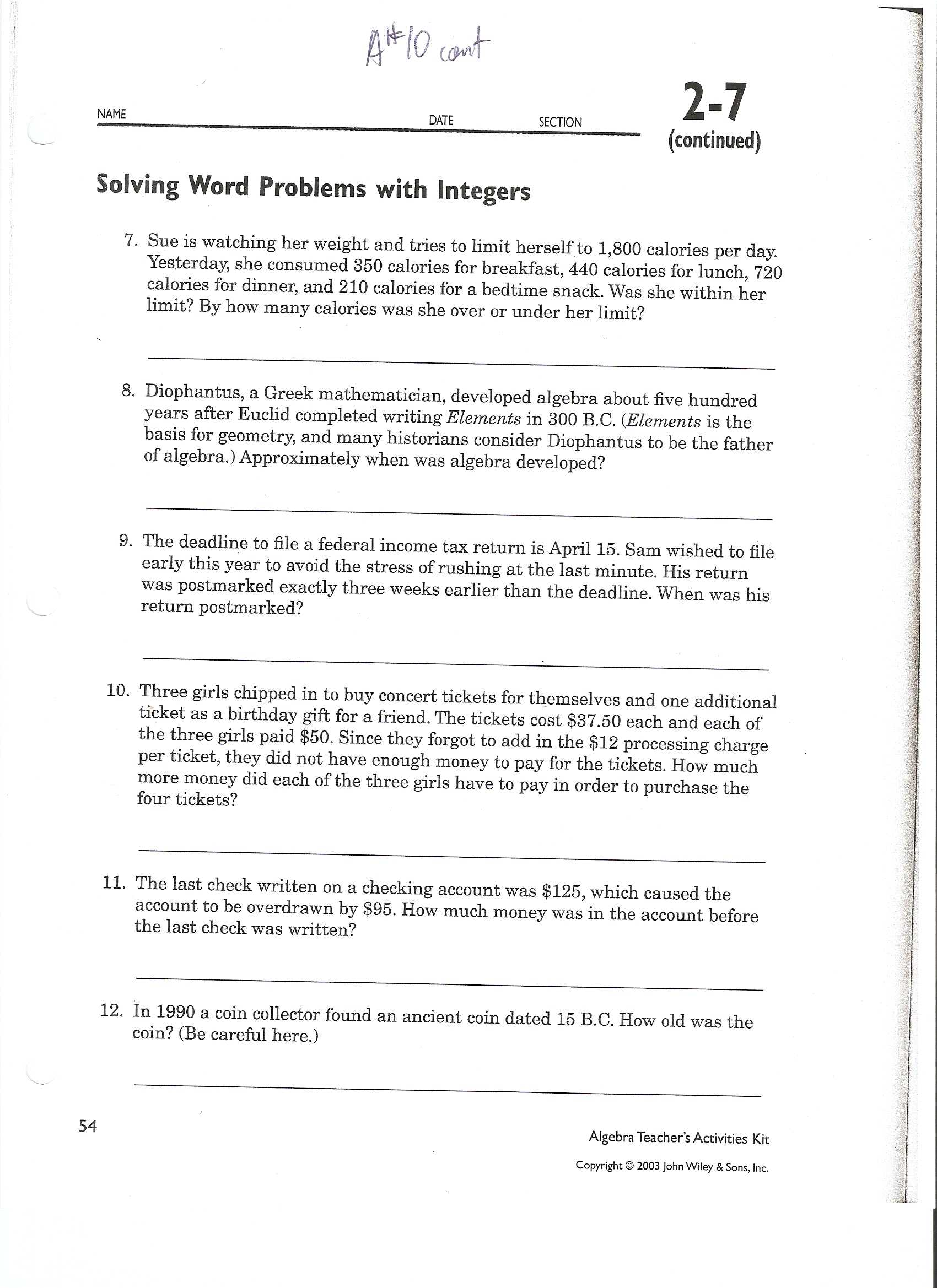 7th Grade Math Word Problems Worksheets with Integer Words Worksheet 6th Grade Adding and Subtracting Integers