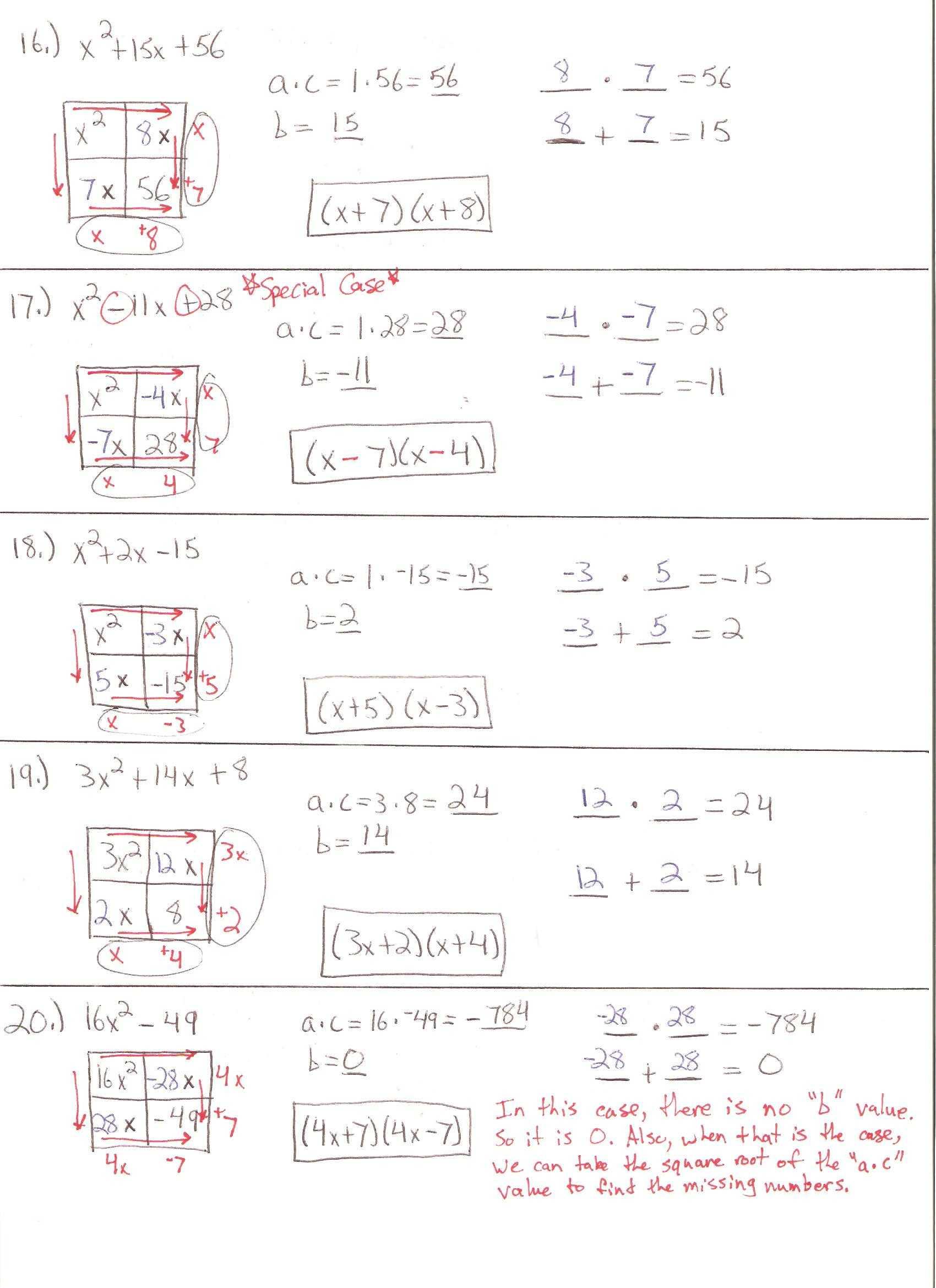 Algebra 1 Factoring Worksheet Also Factoring Trinomials