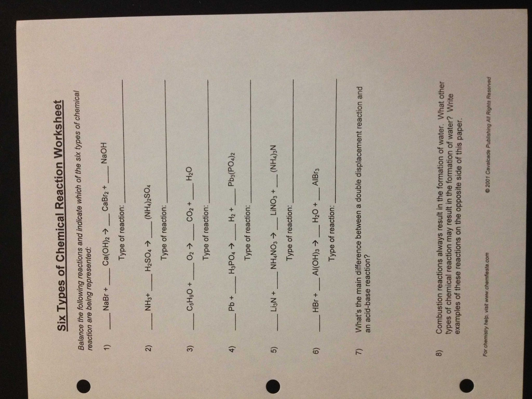 Balancing Chemical Reactions Worksheet Answers And