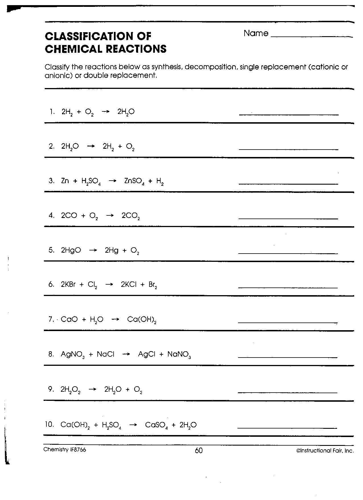 Classification Of Chemical Reactions Worksheet as Well as Classification Chemical Reactions Worksheet Answers New Dc Heath