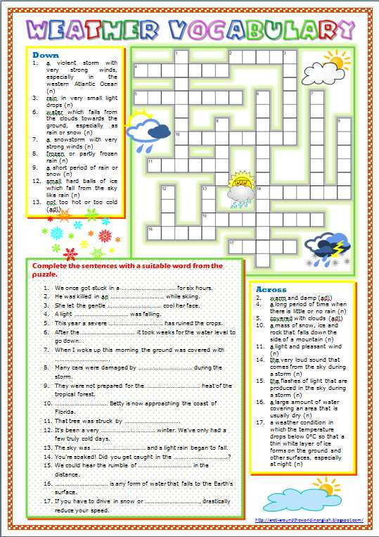 Darwin's Natural Selection Worksheet Answer Key with Around the World In English Weather Vocabulary Worksheet