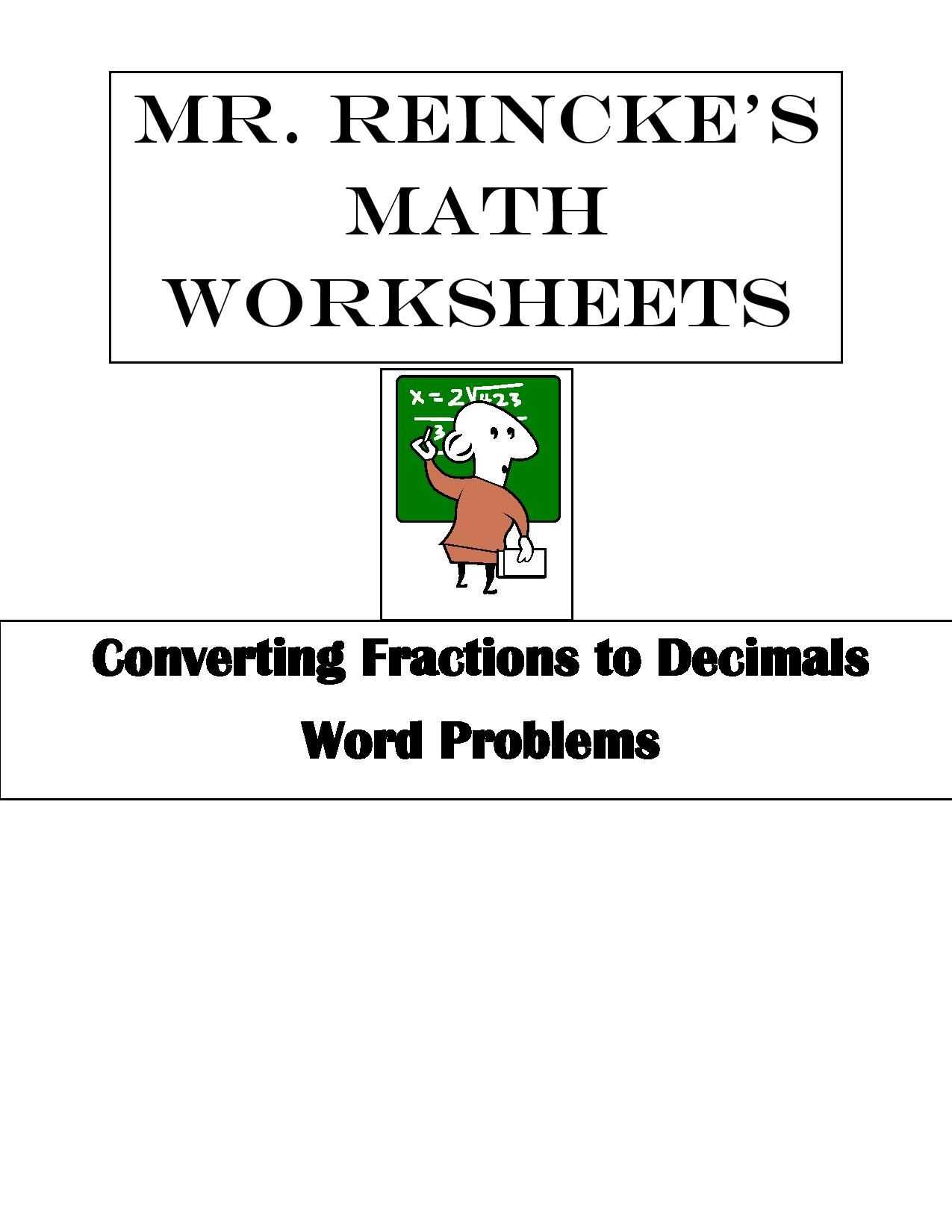 Equivalent Expressions Worksheet or Converting Fractions to Decimals Word Problems 4 Worksheets