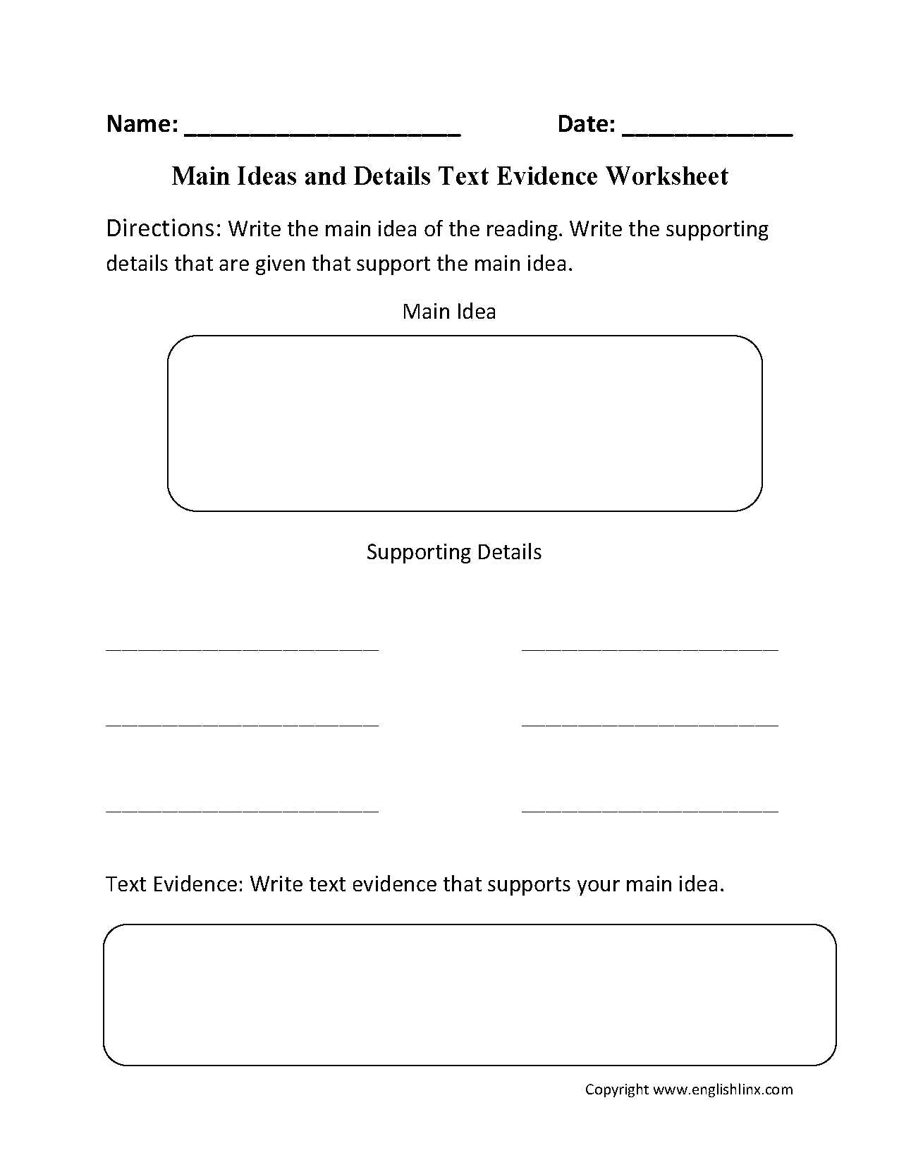 Inferences Worksheet 1 together with Main Idea Worksheets Englishlinx Board