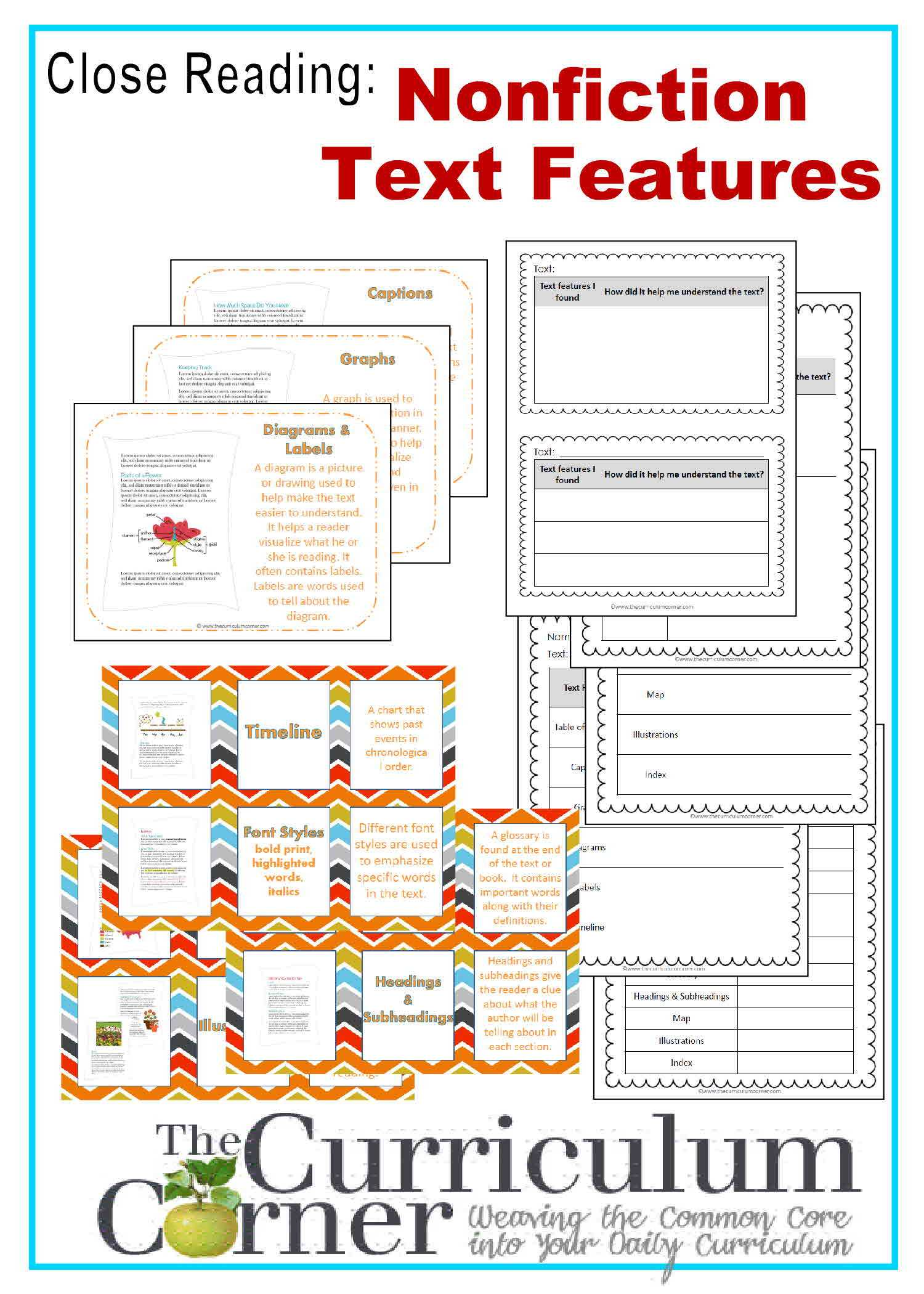 Nonfiction Text Features Worksheet Along with Nonfiction Features Worksheet