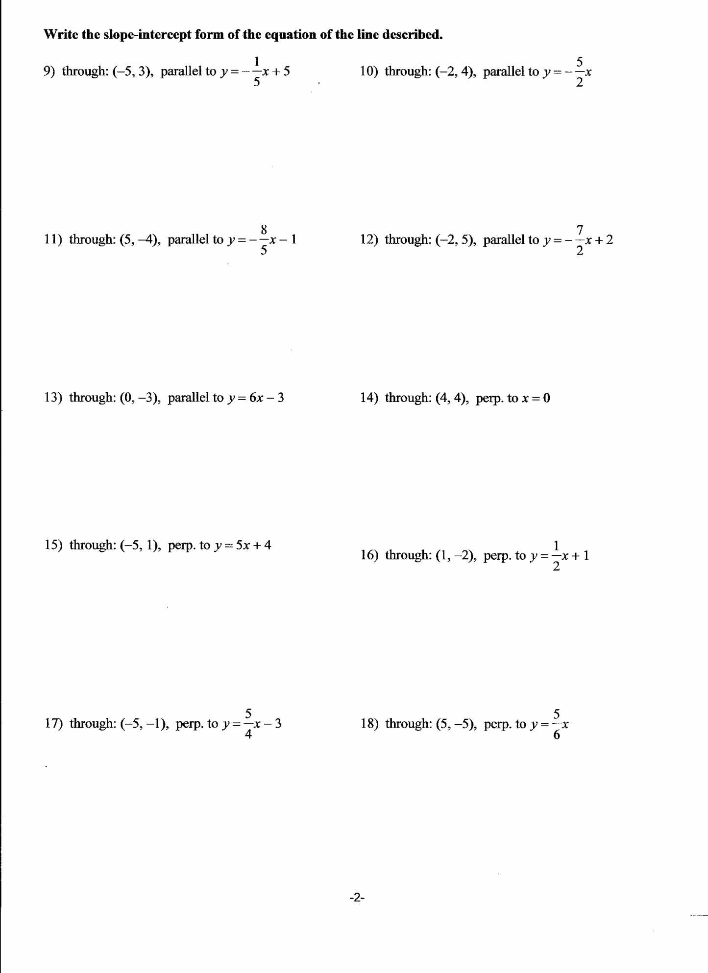 Proving Parallel Lines Worksheet with Answers together with Worksheet Writing Equations Parallel and Perpendicular Lines